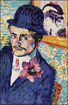 Qui a représenté Jean Metzinger sur cette toile intitulée  l'homme à la tulipe  ?