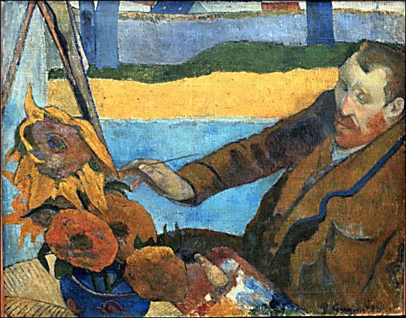 Qui a réalisé ce portrait de van Gogh peignant les tournesols ?