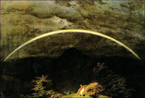 Paysage de montagne avec arc-en-ciel.