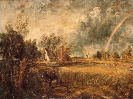 Maison de campagne, arc-en-ciel, moulin.