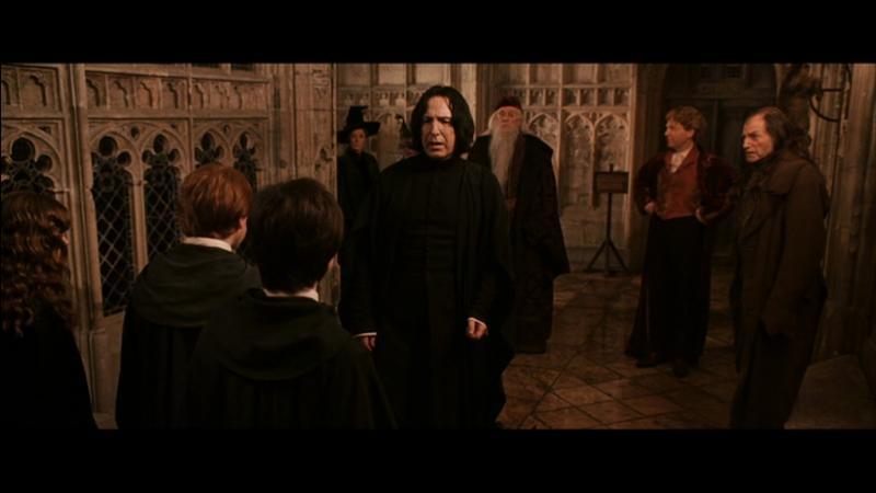 Durant cette année, Severus Rogue manifeste du mépris envers Gilderoy Lockhart, le nouveau professeur de défense contre les forces du mal. Qui prend-il à parti au début du film ?