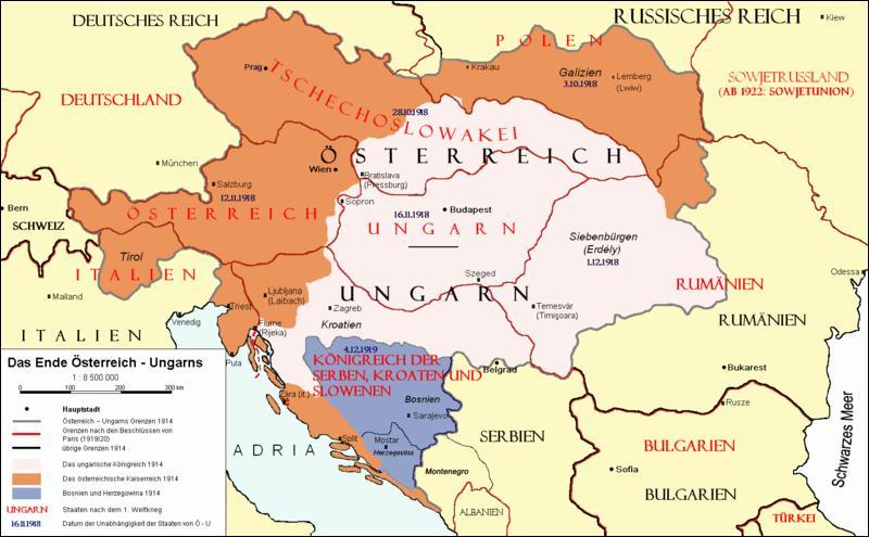 Quelle est la conséquence pour l'Autriche-Hongrie de sa défaite lors de la Première Guerre mondiale ?