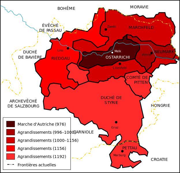 En 1278, Rodolphe de Habsbourg, roi de Germanie et roi des Romains, de fait empereur du Saint-Empire romain germanique, contraint le roi de Bohême Ottokar II à lui céder un territoire qu'il occupait indûment. Si vous relisez le message de présentation, vous comprendrez qu'il s'agit du