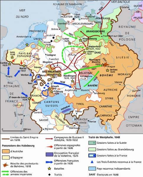 De 1618 à 1648, quelle guerre ravage le Saint-Empire et débute en Bohême ?