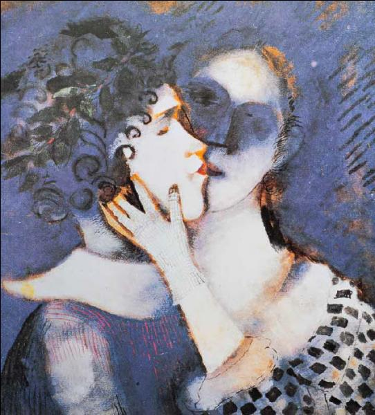 En 1914, il peint  Les amoureux en bleu  illustrant sa passion avec sa femme, il a peint deux autres versions :