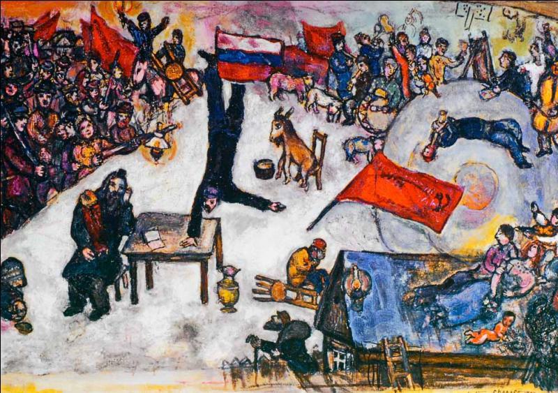 En 1937, Chagall était favorable à le révolution, mais il comprit vite que la dictature était plus forte que la liberté, quel est le titre de cette toile ?