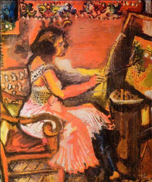 Dans cette toile colorée avec un mur orné de motifs floraux, on sent l'inspiration :
