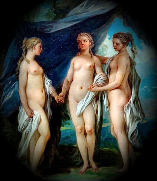 Les trois grâces  peintes en 1765 par Carl Van Loo était trois soeurs.