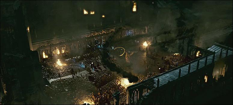 Harry Potter s'introduit, avec ses amis, dans la cour intérieure de Poudlard. Le paysage est apocalyptique. Si on sait déjà que les géants se sont alliés aux Mangemorts, quelle autre créature de l'univers de Harry Potter est également de la partie pour leur venir en aide ?