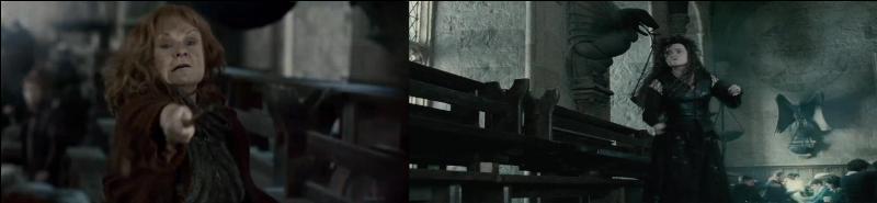 La bataille est à nouveau engagée dans la Grande Salle. Molly Weasley et Bellatrix Lestrange entrent en collision. Quelle sorcière sort vainqueur de ce duel ?