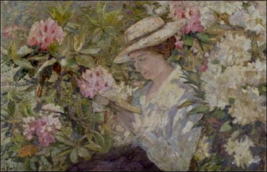 Qui a peint Femme lisant dans les rhododendrons ?