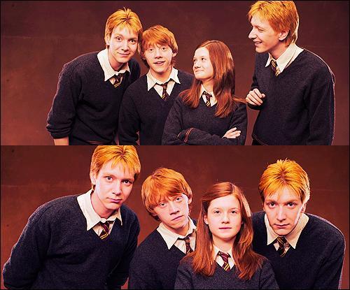 Quels sont les prénoms des enfants Weasley du plus âgé au plus jeune ?