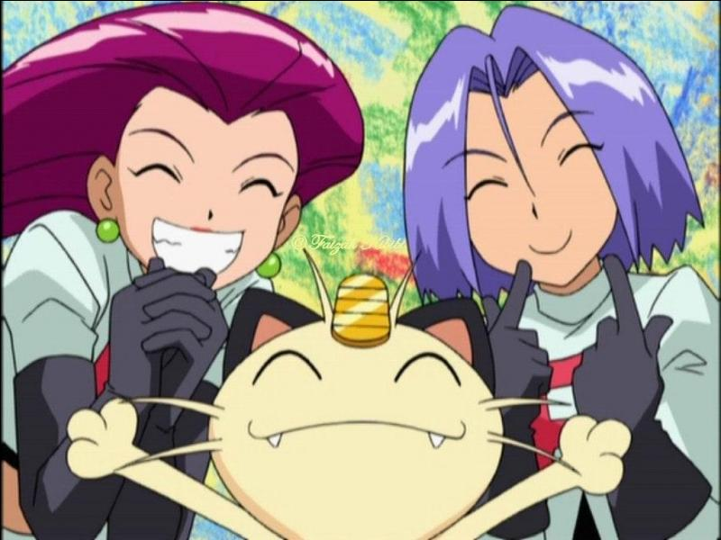 Nous sommes de retour pour vous jouer un mauvais tour . Cette phrase est le début de  l'hymne  (premières saisons) annonçant l'arrivée de la Team Rocket dans  Pokémon  .