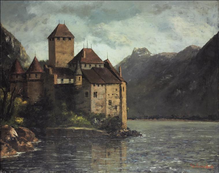 Qui a peint Le château de Chillon, avec de belles montagnes en toile de fond ?