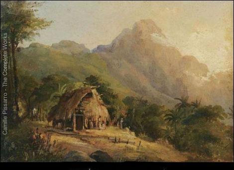 Qui a peint Hutte dans un paysage de montagne ?