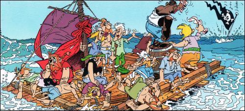 """De quelle manière le bateau des pirates est-il coulé dans """"Astérix chez les Belges"""" ?"""