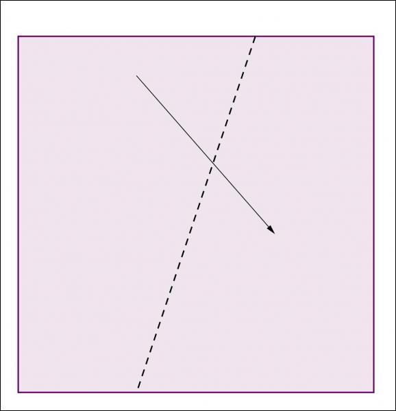 Annie plie ce carré de papier, suivant la diagonale pointillée, puis coupe aux ciseaux les parties qui dépassent. Combien de côtés aura le figure obtenue après le dépliage ?