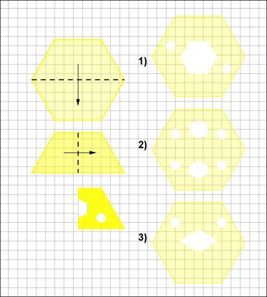 Julie plie deux fois un héxagone comme le montre la figure, puis elle découpe les deux parties montrées sur le dessin. Quelle figure obtiendra-t-elle après dépliage ?