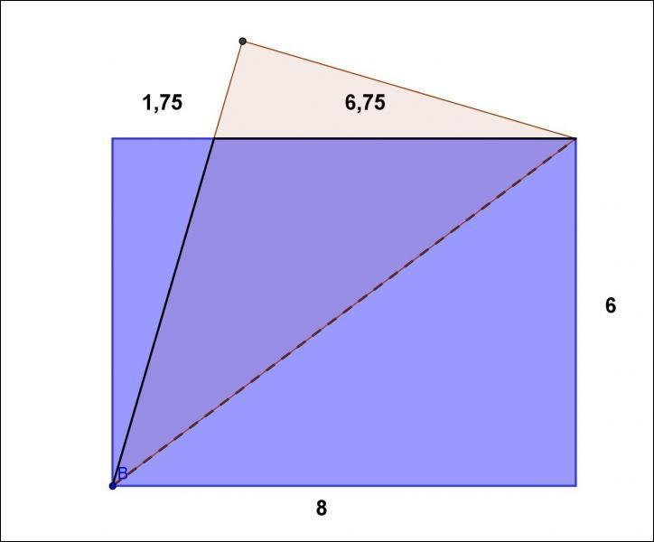 Pour ne pas être en reste, Annie elle, plie un rectangle en deux, suivant une diagonale et coupe les deux morceaux qui dépassent. Après dépliage, elle obtient un losange. Quelle est son aire ?