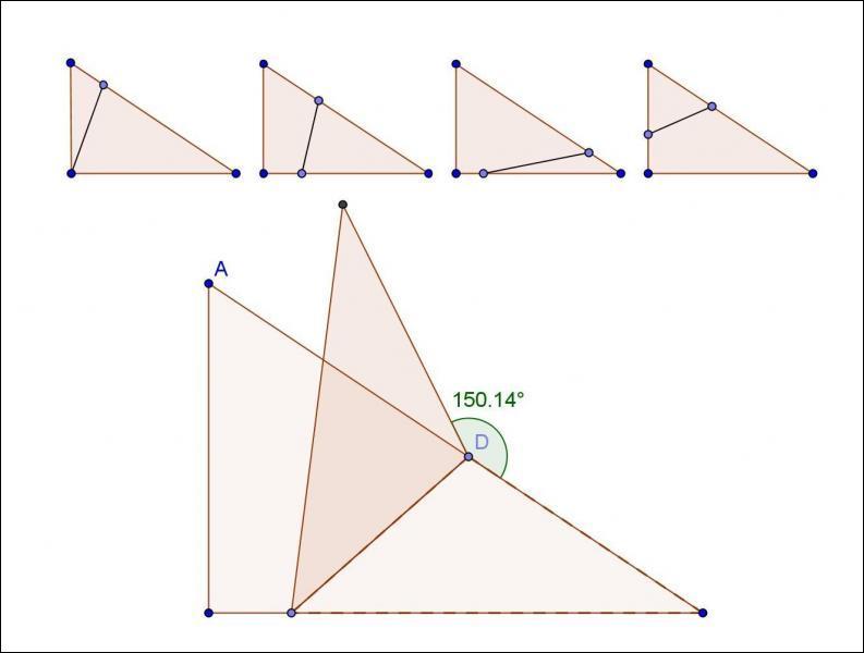 Julie demande à Annie: Voici un triangle rectangle, je plie un sommet suivant une ligne et j'obtiens, comme sur le dessin, un angle. Quelle figure, en patant de la gauche, choisirais-tu pour obtenir un angle droit ?