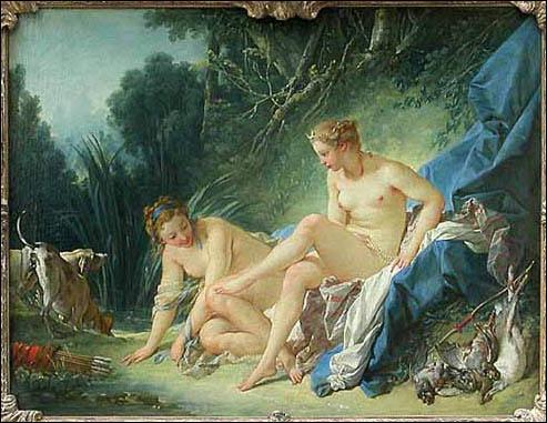 Tableau de François Boucher, c'est  ..... sortant du bain