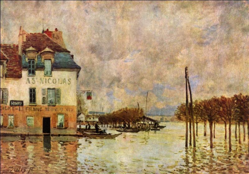 Tableau célèbre d'Alfred Sisley, c'est  Inondation à ...