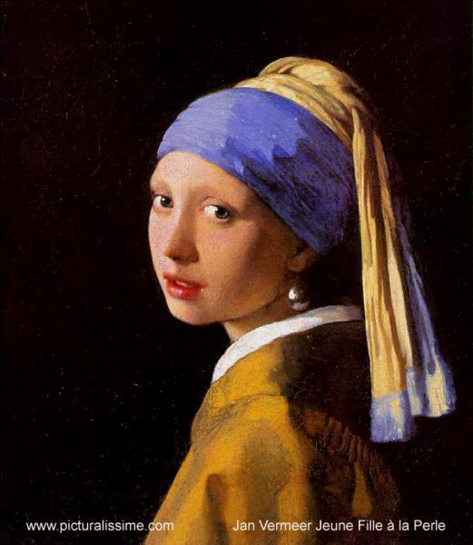 Célèbre toile de Johannes Vermeer, il s'agit de  La jeune fille ...