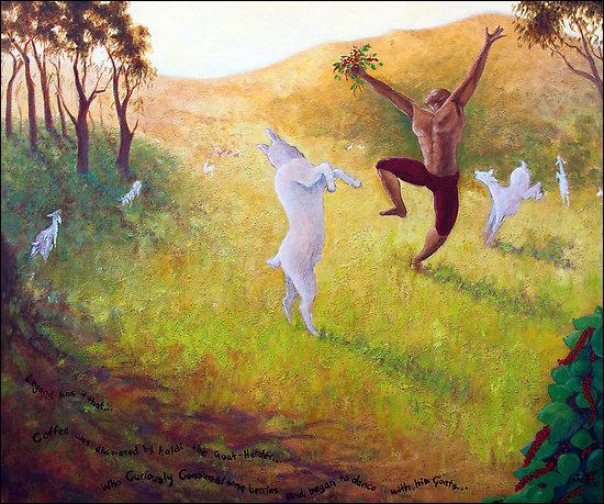 Au VIIIème siècle, dans les monts du Yémen, un gardien de chèvres aurait constaté qu'elles gambadaient follement après avoir brouté de petites baies rouges. Quel était le nom de ce berger ?