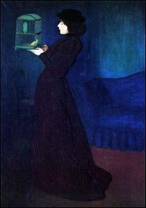 Femme avec une cage à oiseaux.