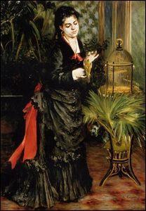 Femme avec un perroquet.