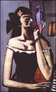Femme avec perroquet.