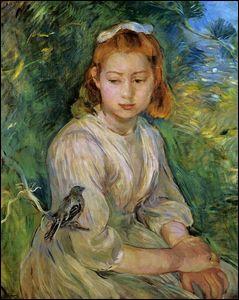 Jeune fille avec un oiseau.