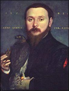 Portrait de gentilhomme avec un faucon.
