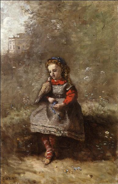 Mademoiselle Léotine Desavary tenant une tourterelle.