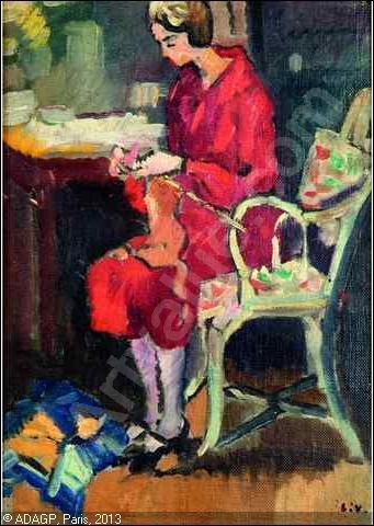 Qui a peint sa femme au tricot assise sur une chaise ?