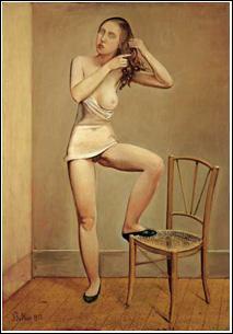 Qui a peint Alice, un pied sur une chaise ?