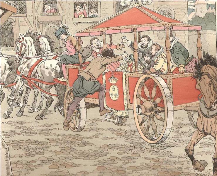 Le 14 mai 1610, le roi Henri IV est dans son carrosse, dans une rue de Paris, soudain un personnage bondit sur lui et le tue de plusieurs coups de couteau !