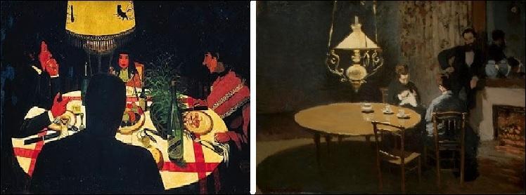 A-t-il peint  Intérieur, après dîner  (image de droite) ou  Dîner effet de lampe  (image de gauche) ?