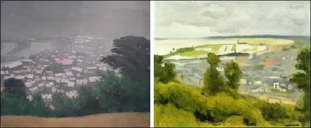 A-t-il représenté une vue générale d'Honfleur (image de droite) ou Honfleur dans la brume (image de gauche) ?