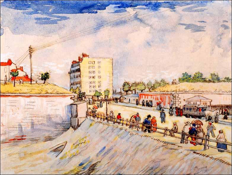 Qui a peint La barrière avec l'omnibus à chevaux ?