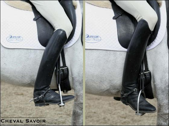 Pour prendre le galop à gauche, je recule légèrement la jambe :