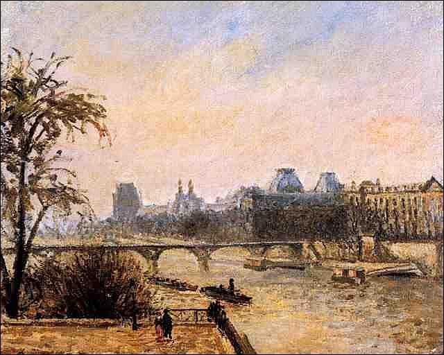 Le Louvre, matin de pluie , est l'oeuvre d'un peintre reconnu comme l'un des  pères de l'impressionisme , peintre de la vie rurale, mais célèbre aussi pour ses scènes de quartiers parisiens comme Montmartre ou Le Louvre. Il s'agit de :