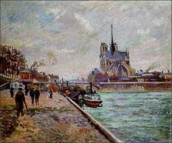 Quel peintre, spécialisé dans la représentation de paysages, a réalisé beaucoup de vues de la Seine, de ses ponts et de ses berges, notamment ce tableau  Seine à Paris avec vue sur Notre-Dame  en 1888 ?