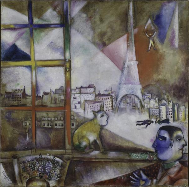 Paris à travers la fenêtre  (1913), oeuvre majeure de ce peintre russe qui vécut à Paris de 1910 à 1914. De qui s'agit-il ?