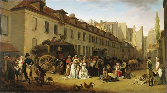 Quel artiste français né en 1761, connu surtout pour ses scènes de la vie parisienne après la Révolution, a exécuté  L'Arrivée d'une diligence dans la cour des Messageries  en 1803 ?