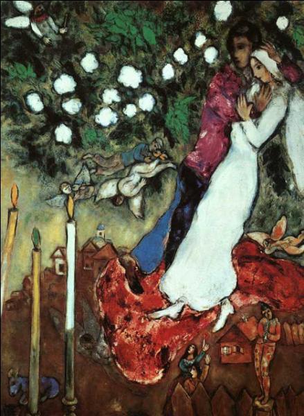 Qui a peint ces mariés sur cette toile intitulée  Les trois bougies  ?