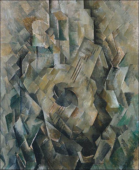 Cette toile intitulée  Guitare  a été réalisée par l'un des maîtres du cubisme :