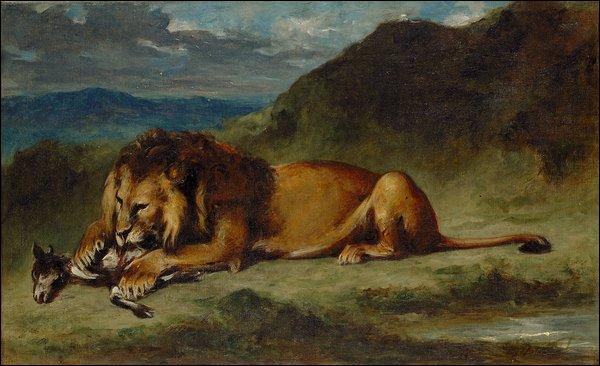 Quel peintre à qui l'on doit  La liberté guidant le peuple  a peint ce lion ?