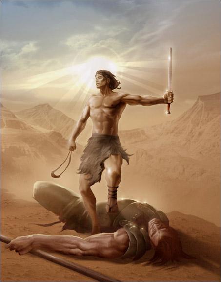 Quand la série parodie La Bible, qui sont David et Goliath ?