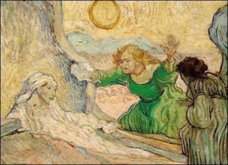 Bien que ses crises contraignent les docteurs a confisquer son matériel, il ne cesse de peindre et se lance dans la reproduction des gravures de ses peintres préférés. Cette   Résurrection de Lazare   est inspirée d'une oeuvre de ...